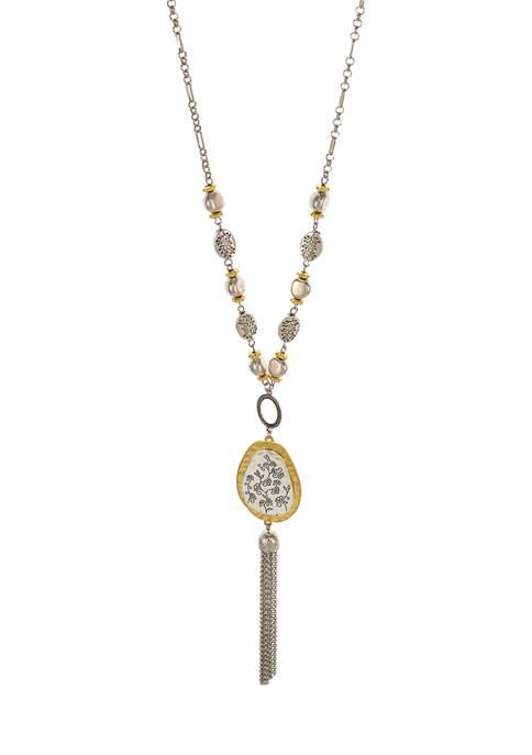 Two Tone Long Teardrop Pendant Tassel Necklace