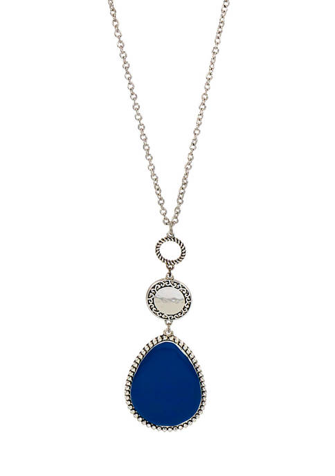 Silver Tone 32 Inch + 3 Inch Extender Long Necklace with Blue Teardrop Pendant