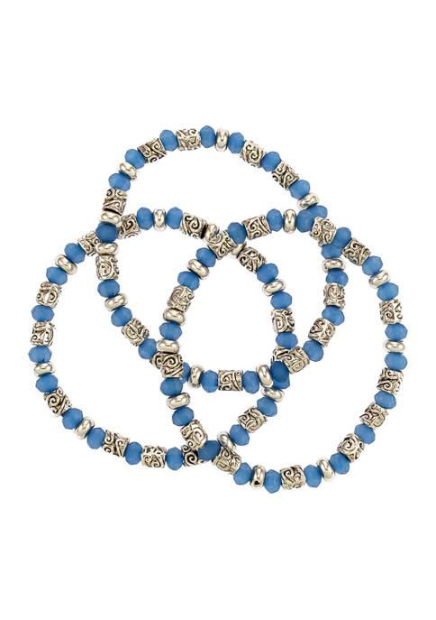 Set of 3 Silver Tone Blue Beaded Stretch Bracelets