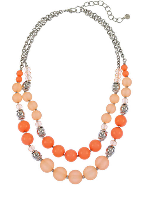 Rhodium Plated Beaded 2 Row Necklace