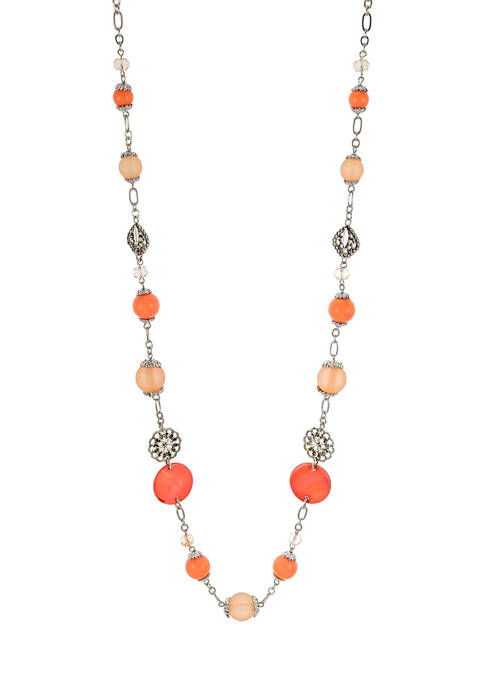 Rhodium Plated Beaded Long Necklace