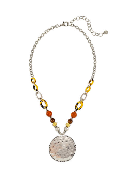 Tortoiseshell Bead Disc Pendant Necklace
