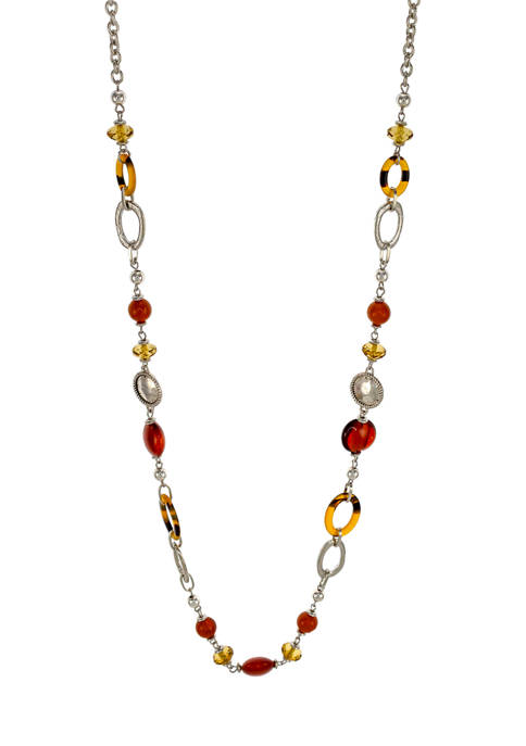 Ruby Rd Rhodium Plated Long Beaded Necklace