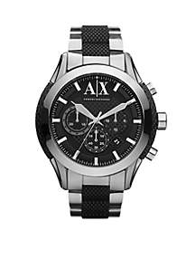 Men's Stainless Steel and Black Silicone Chronograph Watch