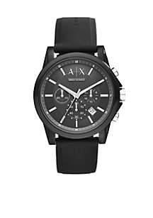 Men's Active Black Silicone Strap Chronograph Watch