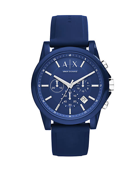 Armani Exchange AX Mens Active Blue Silicone Strap