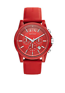 Men's Active Red Silicone Strap Chronograph Watch