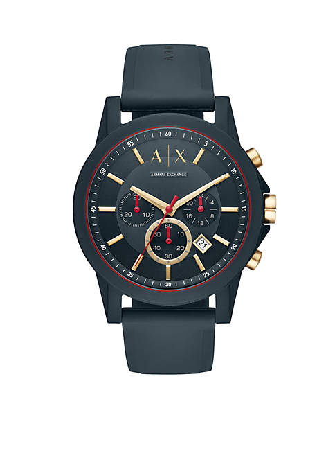 Armani Exchange AX Mens Outer Banks Blue Silicone
