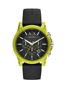 Chronograph Black Silicone Watch