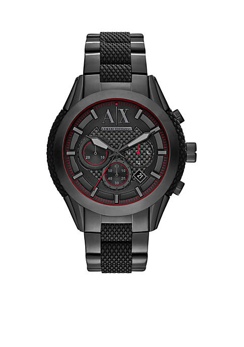 Mens Chronograph Black Stainless Steel and Black Silicone Watch