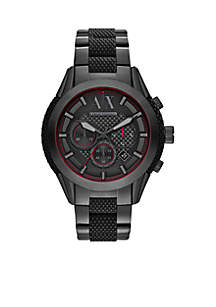 Armani Exchange AX Men's Chronograph Black Stainless Steel and Black Silicone Watch