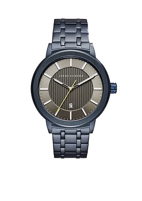 Armani Exchange AX Mens Graphite Blue Stainless Steel