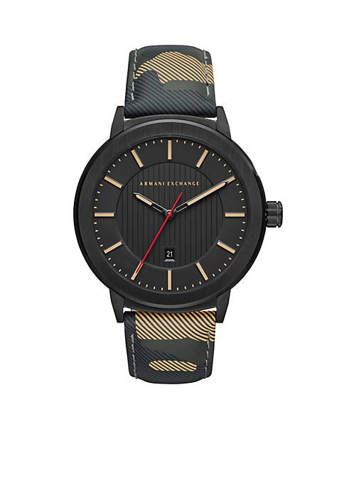 Armani Exchange AX Mens Street Camo Leather Watch