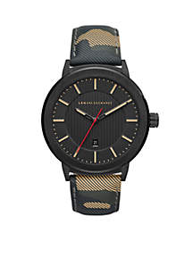 Armani Exchange AX Men's Street Camo Leather Watch