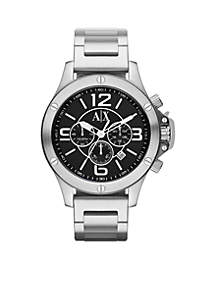 Armani Exchange AX Men's Silver-Tone Stainless Steel Chronograph Watch