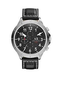 Men's Street Black Leather Chronograph Watch