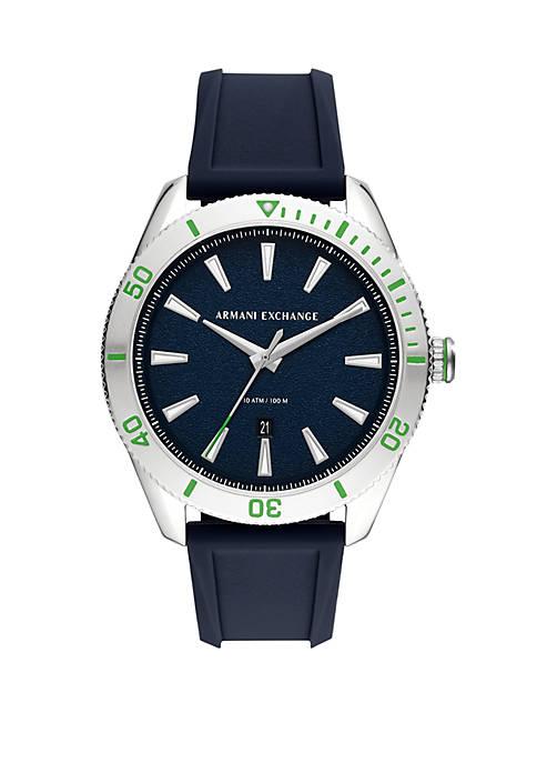 Armani Exchange AX 3-Hand Blue Silicone Watch