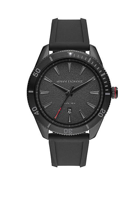 Armani Exchange AX ENZO 3-Hand Black Silicone Watch