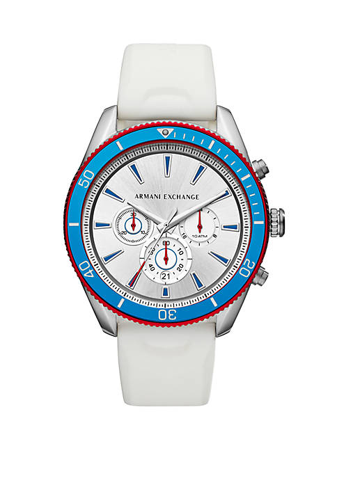 Armani Exchange AX AIX Mens Chronograph White Silicone