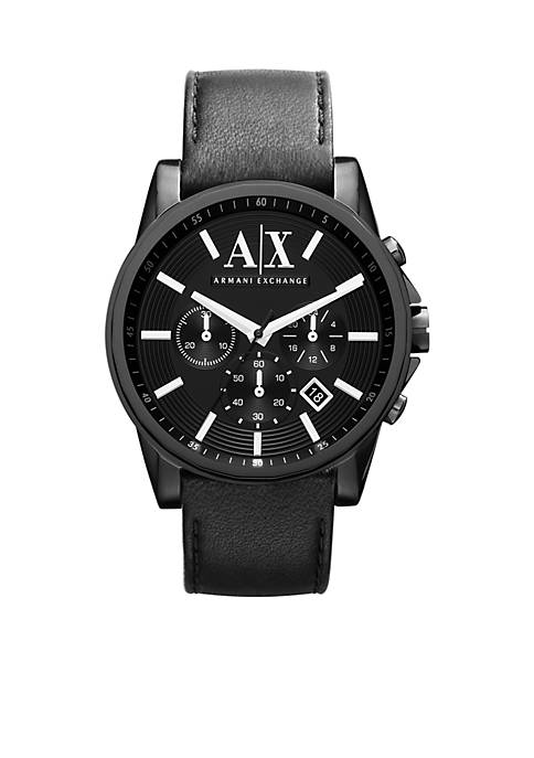Mens Round Black Chronograph with Black Leather Strap Watch