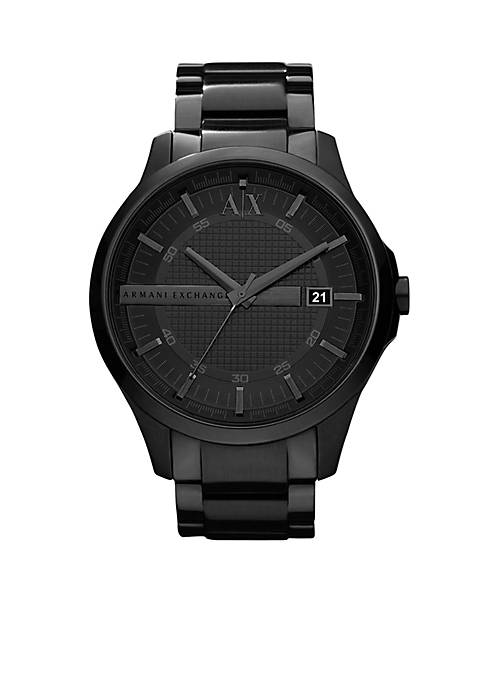Armani Exchange AX Mens Black IP Stainless Steel