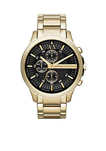 Men's Gold-Tone Stainless Steel with Black Dial Chronograph Watch