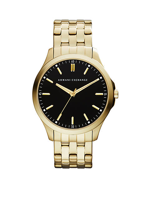 Armani Exchange AX Mens Gold-Tone Stainless Steel Three-Hand