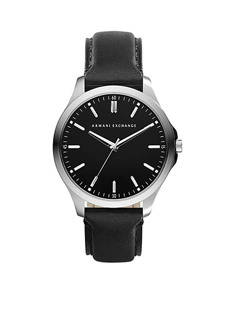 Armani Exchange AX Mens Stainless Steel Round Leather