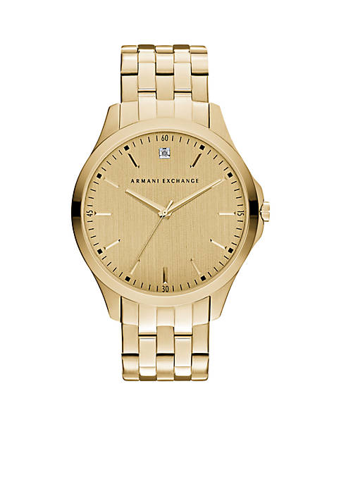 Armani Exchange AX Mens Three-Hand Gold-Tone Stainless Steel
