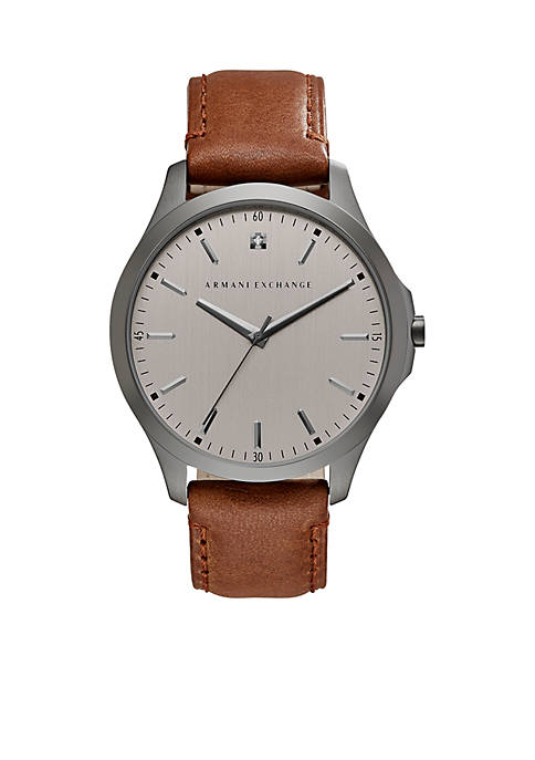 Armani Exchange AX Mens Hampton Three-Hand-Date Brown Leather