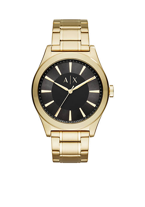 Armani Exchange AX Mens Gold-Tone 3-Hand Watch