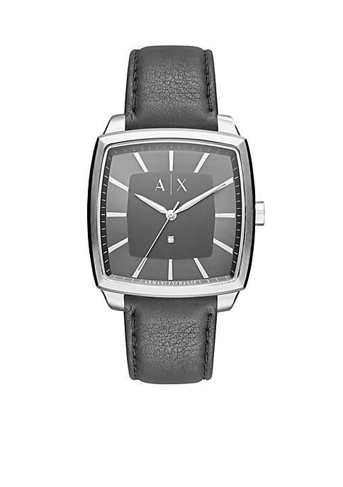 Mens Nico Three-Hand Black Leather Watch