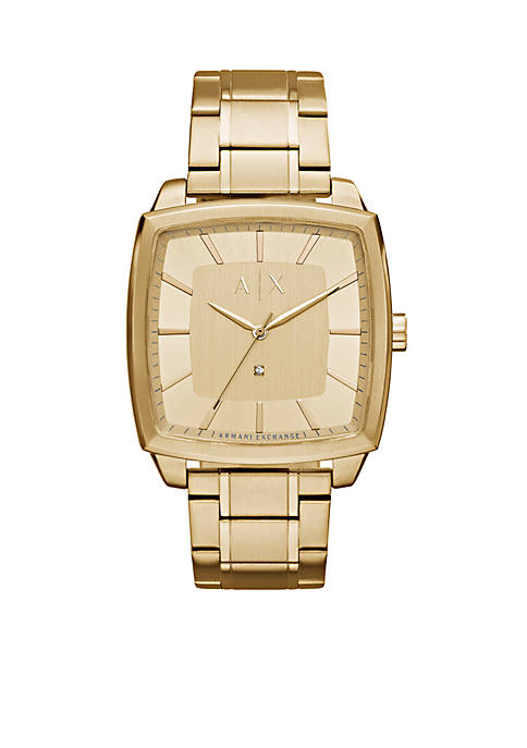 Armani Exchange AX Mens Gold-Tone Three-Hand Watch