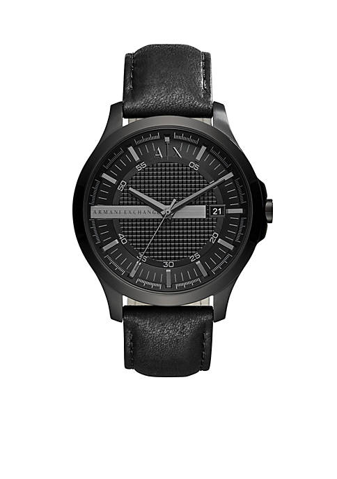Armani Exchange AX Mens Black Leather Watch