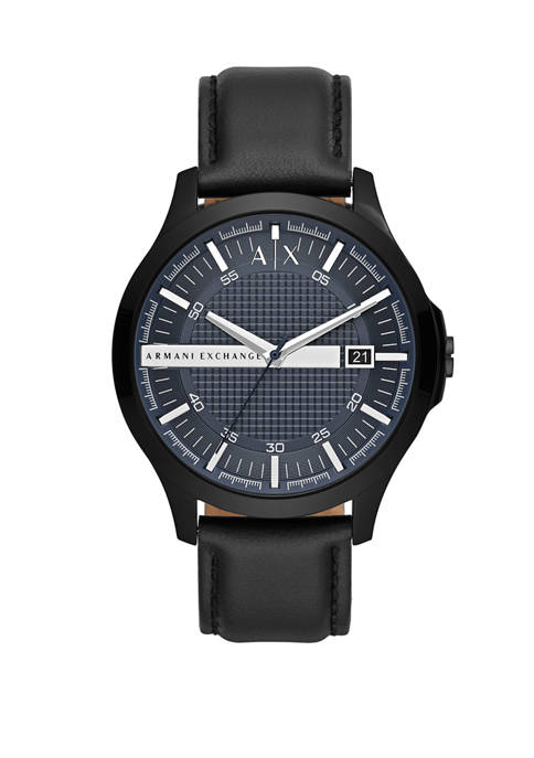 Armani Exchange AX Mens Black Leather Hampton Watch