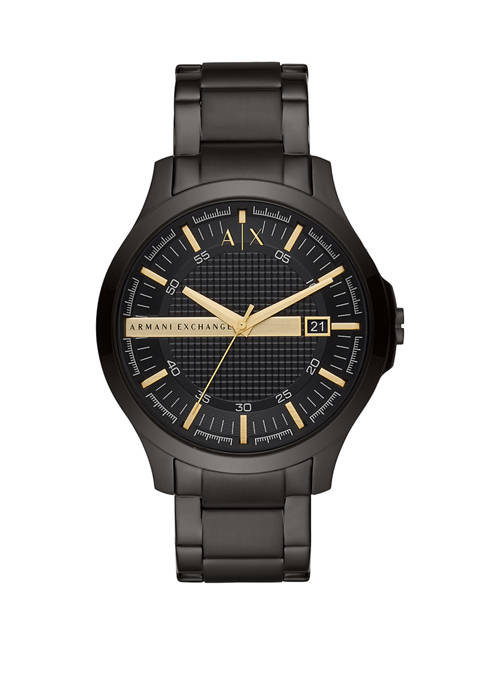 Armani Exchange AX Mens Three-Hand Black Stainless Steel