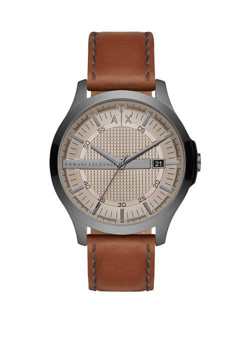 Armani Exchange AX Mens Three-Hand Brown Leather Watch
