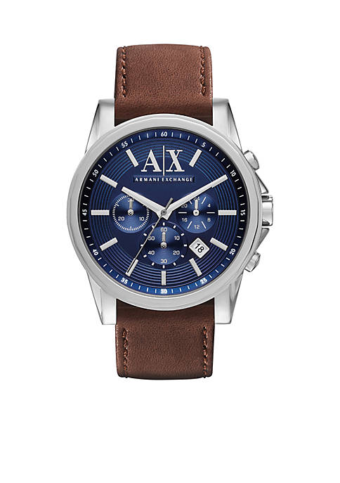 Armani Exchange AX Mens Brown Leather and Stainless