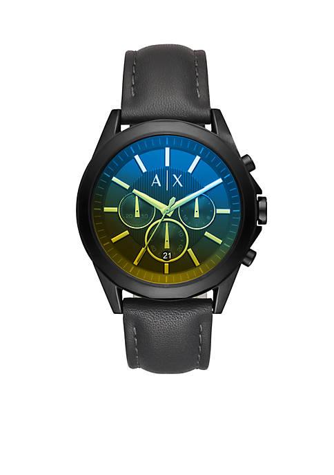 Mens Chronograph Drexler Black Leather Strap Watch