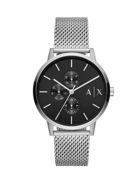Armani Exchange AX Mens Silver Mesh Cayde Watch