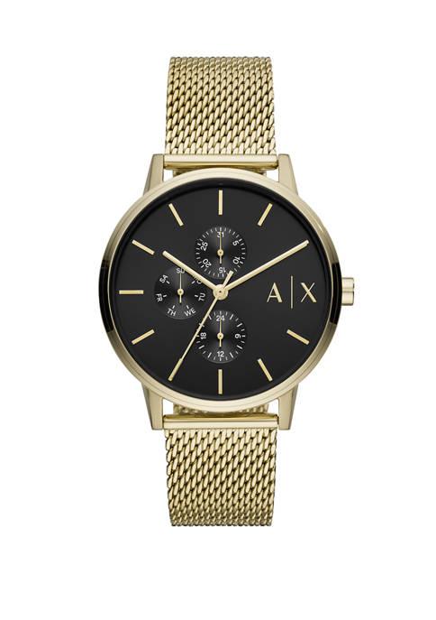 Armani Exchange AX Mens Gold Mesh Cayde Watch