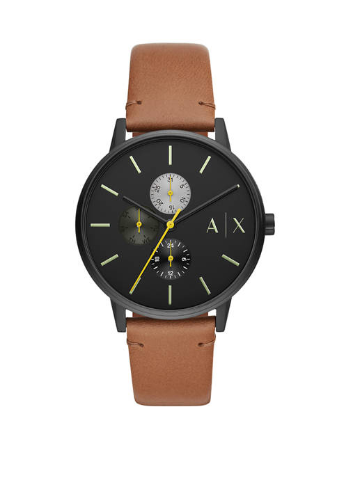 Armani Exchange AX Mens Multifunction Brown Leather Watch