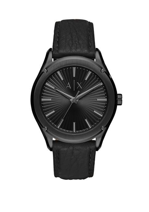 Armani Exchange AX Mens Three Hand Black Leather