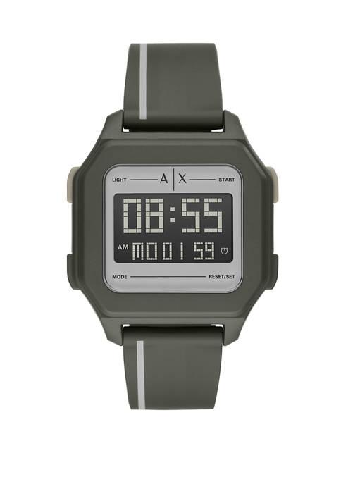 Armani Exchange AX Mens Digital Green Silicone Watch