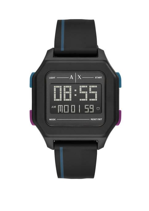 Armani Exchange AX Mens Digital Black Silicone Watch
