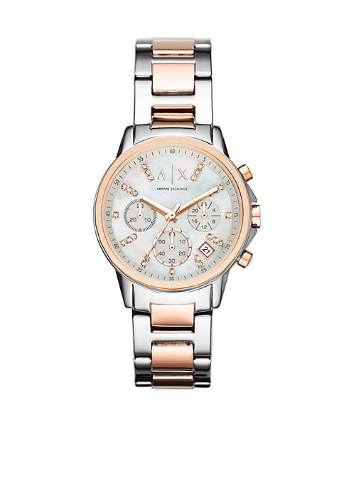 Armani Exchange AX Womens Rose Gold-Tone and Stainless