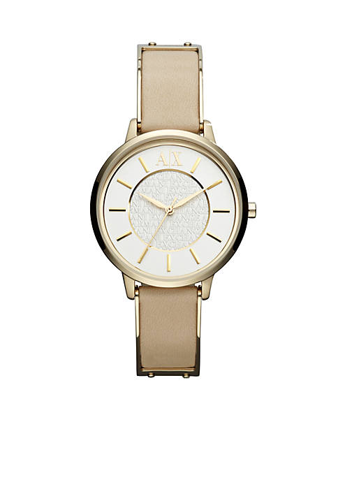 Armani Exchange AX Ladies Gold-Tone Stainless Steel and