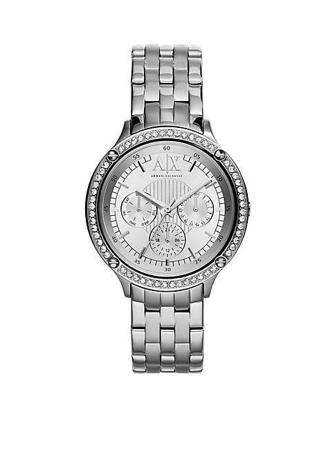 Womens Silver-Tone Stainless Steel Three-Hand Watch