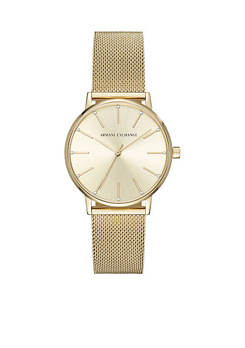 Armani Exchange AX Womens Brushed And Polished Gold-Tone