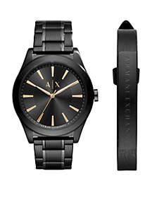 Armani Exchange AX Men's Stainless Steel Black IP  Active Watch Gift Set